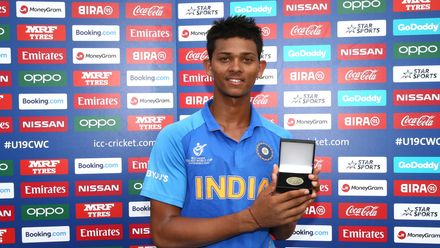 Yashasvi Jaiswal of India poses with his player of the match award during the ICC U19 Cricket World Cup Super League Semi-Final match between India and Pakistan at JB Marks Oval on February 04, 2020 in Potchefstroom, South Africa.