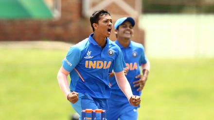 Yashasvi Jaiswal of India celebrates taking the wicket of Haider Ali of Pakistan during the ICC U19 Cricket World Cup Super League Semi-Final match between India and Pakistan at JB Marks Oval on February 04, 2020 in Potchefstroom, South Africa.