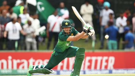 Haider Ali of Pakistan bats during the ICC U19 Cricket World Cup Super League Semi-Final match between India and Pakistan at JB Marks Oval on February 04, 2020 in Potchefstroom, South Africa.