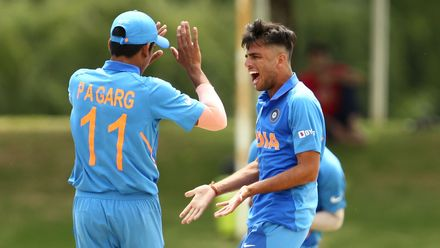 Ravi Bishnoi of India celebrates his first wicket during the ICC U19 Cricket World Cup Super League Semi-Final match between India and Pakistan at JB Marks Oval on February 04, 2020 in Potchefstroom, South Africa.