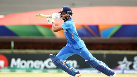 Yashasvi Jaiswal of India bats during the ICC U19 Cricket World Cup Super League Semi-Final match between India and Pakistan at JB Marks Oval on February 04, 2020 in Potchefstroom, South Africa.