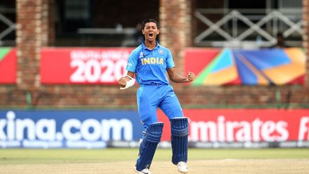 Yashasvi Jaiswal of India celebrates hitting a century during the ICC U19 Cricket World Cup Super League Semi-Final match between India and Pakistan at JB Marks Oval on February 04, 2020 in Potchefstroom, South Africa.