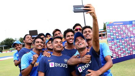 India players pose for a selfie during the ICC U19 Cricket World Cup Super League Semi-Final match between India and Pakistan at JB Marks Oval on February 04, 2020 in Potchefstroom, South Africa.