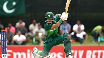 Rohail Nazir of Pakistan bats during the ICC U19 Cricket World Cup Super League Semi-Final match between India and Pakistan at JB Marks Oval on February 04, 2020 in Potchefstroom, South Africa.