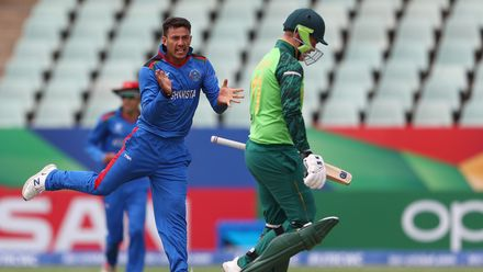 Abdul Rahman Rahmani of Afghanistan celebrates bowling Bryce Parsons of South Africa during the ICC U19 Cricket World Cup 7th Place Play-Off match between South Africa and Afghanistan at Willowmoore Park on February 05, 2020 in Benoni, South Africa.