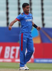 Shafiqullah Ghafari of Afghanistan celebrates the wicket of Jonathan Bird of South Africa during the ICC U19 Cricket World Cup 7th Place Play-Off match between South Africa and Afghanistan at Willowmoore Park on February 05, 2020 in Benoni, South Africa.