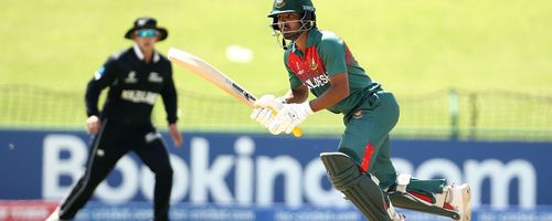 Mohammad Tawhid Hridoy of Bangladesh bats during the ICC U19 Cricket World Cup Super League Semi-Final match between New Zealand and Bangladesh at JB Marks Oval on February 06, 2020 in Potchefstroom, South Africa.