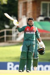 Mahmudul Hasan Joy of Bangladesh celebrates his century during the ICC U19 Cricket World Cup Super League Semi-Final match between New Zealand and Bangladesh at JB Marks Oval on February 06, 2020 in Potchefstroom, South Africa.