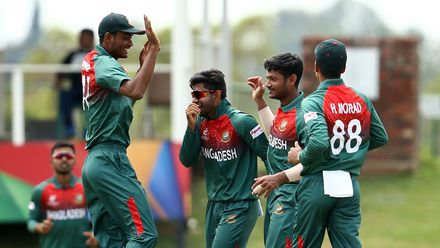 Bangladesh players celebrate the third wicket during the ICC U19 Cricket World Cup Super League Semi-Final match between New Zealand and Bangladesh at JB Marks Oval on February 06, 2020 in Potchefstroom, South Africa.