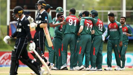 Rakibul Hasan of Bangladesh celebrates taking his 1st wicket during the ICC U19 Cricket World Cup Super League Semi-Final match between New Zealand and Bangladesh at JB Marks Oval on February 06, 2020 in Potchefstroom, South Africa.