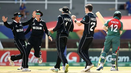 David Hancock of New Zealand celebrates a wicket with team mates during the ICC U19 Cricket World Cup Super League Semi-Final match between New Zealand and Bangladesh at JB Marks Oval on February 06, 2020 in Potchefstroom, South Africa.