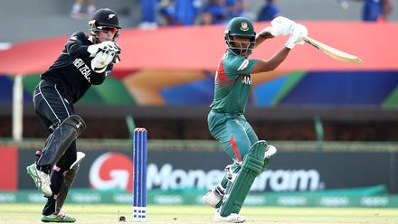 Shahadat Hossain of Bangladesh bats with Quinn Sunde of New Zealand keeping wicket during the ICC U19 Cricket World Cup Super League Semi-Final match between New Zealand and Bangladesh at JB Marks Oval on February 06, 2020 in Potchefstroom, South Africa.