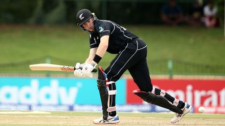 Fergus Lellman of New Zealand bats during the ICC U19 Cricket World Cup Super League Semi-Final match between New Zealand and Bangladesh at JB Marks Oval on February 06, 2020 in Potchefstroom, South Africa.