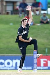 Kristian Clarke of New Zealand bowls during the ICC U19 Cricket World Cup Super League Semi-Final match between New Zealand and Bangladesh at JB Marks Oval on February 06, 2020 in Potchefstroom, South Africa.