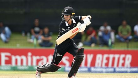 Nicholas Lidstone of New Zealand bats during the ICC U19 Cricket World Cup Super League Semi-Final match between New Zealand and Bangladesh at JB Marks Oval on February 06, 2020 in Potchefstroom, South Africa.
