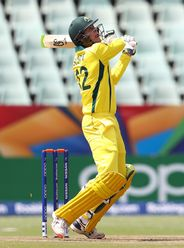 Liam Scott of Australia hits a six during the ICC U19 Cricket World Cup 5th Place Play-Off match between West Indies and Australia at Willowmoore Park on February 07, 2020 in Benoni, South Africa.