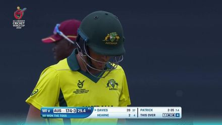 ICC U19 CWC: WI v AUS - Ollie Davies departs giving Matthew Patrick a third wicket
