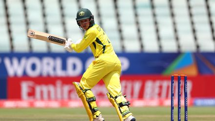 Cooper Connolly of Australia hits the ball towards the boundary during the ICC U19 Cricket World Cup 5th Place Play-Off match between West Indies and Australia at Willowmoore Park on February 07, 2020 in Benoni, South Africa.