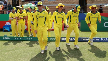 Australia players take to the field during the ICC U19 Cricket World Cup 5th Place Play-Off match between West Indies and Australia at Willowmoore Park on February 07, 2020 in Benoni, South Africa.
