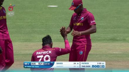 ICC U19 CWC: WI v AUS – Patrick deceives Harvey with a straighter one