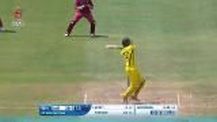 ICC U19 CWC: WI v AUS - Liam Scott hits the first six of the game