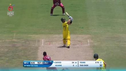 ICC U19 CWC: WI v AUS – Davies hoicks a big one over cow corner