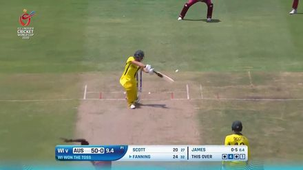 ICC U19 CWC: WI v AUS – Fanning's booming drive flies over the slip cordon