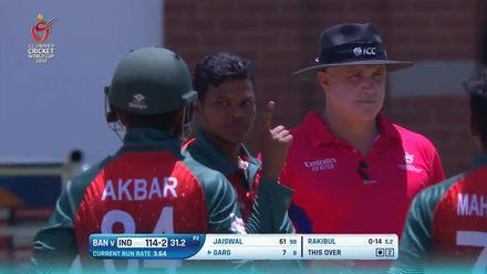 ICC U19 CWC: IND v BAN – Rakibul snares the Indian captain Priyam Garg