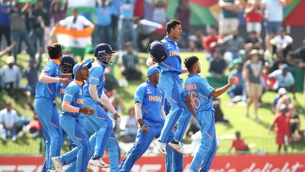 India players celebrate a stumping by Dhruv Jurel of India during the ICC U19 Cricket World Cup Super League Final match between India and Bangladesh at JB Marks Oval on February 09, 2020 in Potchefstroom, South Africa.