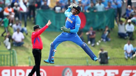 Dhruv Jurel of India celebrates a stumping during the ICC U19 Cricket World Cup Super League Final match between India and Bangladesh at JB Marks Oval on February 09, 2020 in Potchefstroom, South Africa.