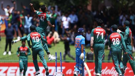 Mohammad Shoriful Islam of Bangladesh celebrates running out Ravi Bishnoi of India during the ICC U19 Cricket World Cup Super League Final match between India and Bangladesh at JB Marks Oval on February 09, 2020 in Potchefstroom, South Africa.