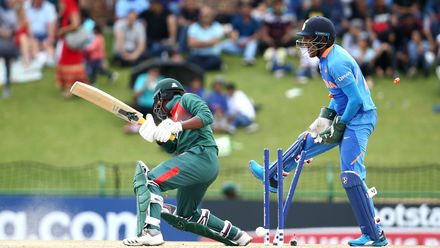 Mahmudul Hasan Joy of Bangladesh is bowles by Ravi Bishnoi of India with Dhruv Jurel of India keeping wicket during the ICC U19 Cricket World Cup Super League Final match between India and Bangladesh at JB Marks Oval on February 09, 2020.