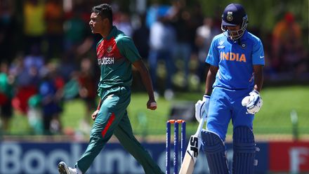 Avishek Das of Bangladesh celebrates the wicket of Divyaansh Saxena of India during the ICC U19 Cricket World Cup Super League Final match between India and Bangladesh at JB Marks Oval on February 09, 2020 in Potchefstroom, South Africa.