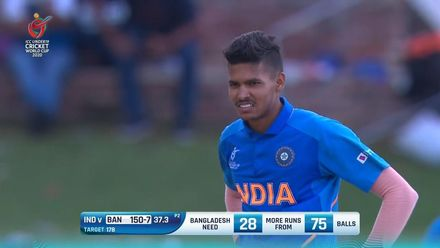 ICC U19 CWC: IND v BAN – Ball rears over 'keeper for four after pitching on foot hole
