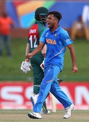 Ravi Bishnoi of India celebrates the wicket of Mohammad Parvez Hossain Emon of Bangladesh during the ICC U19 Cricket World Cup Super League Final match between India and Bangladesh at JB Marks Oval on February 09, 2020 in Potchefstroom, South Africa.