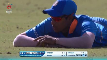 ICC U19 CWC: IND v BAN – Avishek is dropped and dismissed within two deliveries