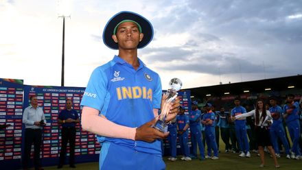 Yashasvi Jaiswal of India poses with the player of the tournament award during the ICC U19 Cricket World Cup Super League Final match between India and Bangladesh at JB Marks Oval on February 09, 2020 in Potchefstroom, South Africa.