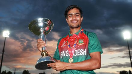 Mohammad Akbar Ali of Bangladesh pictured with the trophy during the ICC U19 Cricket World Cup Super League Final match between India and Bangladesh at JB Marks Oval on February 09, 2020 in Potchefstroom, South Africa.