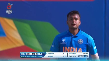 ICC U19 CWC: IND v BAN – Sushant bounces out Avishek to claim his second