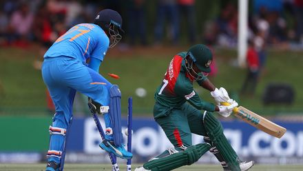 Mahmudul Hasan Joy of Bangladesh is bowled by Ravi Bishnoi of India during the ICC U19 Cricket World Cup Super League Final match between India and Bangladesh at JB Marks Oval on February 09, 2020 in Potchefstroom, South Africa.