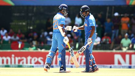 Yashasvi Jaiswal of India and Tilak Varma of India celebrate their partnership during the ICC U19 Cricket World Cup Super League Final match between India and Bangladesh at JB Marks Oval on February 09, 2020 in Potchefstroom, South Africa.