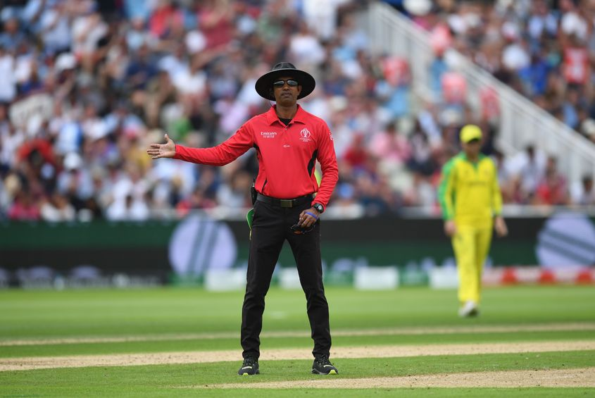 Umpire Dharmasena signals a no ball during the Semi-Final match of the ICC Cricket World Cup 2019 between Australia and England at Edgbaston on July 11, 2019 in Birmingham, England.