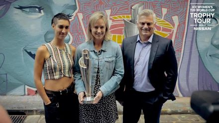 ICC Women's T20 World Cup: Trophy Tour visits Hosier Lane in Melbourne