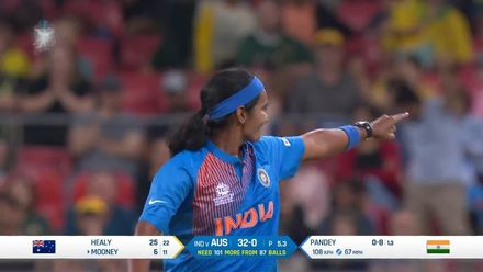 WT20WC: Aus v Ind – Shikha Pandey bowling highlights