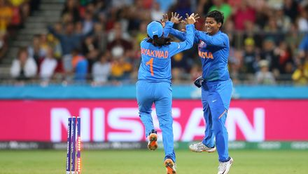 Deepti Sharma of India celebrates after running out Delissa Kimmince of Australia the during the ICC Women's T20 Cricket World Cup match between Australia and India at Sydney Showground Stadium on February 21, 2020 in Sydney, Australia.