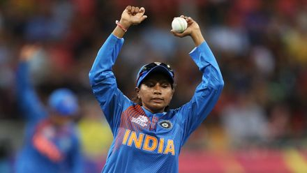 Rajeshwari Gayakward of India celebrates after taking the catch to dismiss Beth Mooney of Australia during the ICC Women's T20 Cricket World Cup match between Australia and India at Sydney Showground Stadium on February 21, 2020 in Sydney, Australia.
