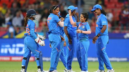 Poonam Yadav of India celebrates with teammates after dismissing Ellyse Perry of Australia during the ICC Women's T20 Cricket World Cup match between Australia and India at Sydney Showground Stadium on February 21, 2020 in Sydney, Australia.