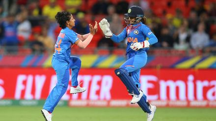 Poonam Yadav of India celebrates with Taniya Bhatia of India after dismissing Ellyse Perry of Australia during the ICC Women's T20 Cricket World Cup match between Australia and India at Sydney Showground Stadium on February 21, 2020 in Sydney, Australia.