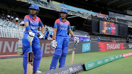 Nattaya Boochatham and Nattakan Chantham of Thailand prepare to bat during the ICC Women's T20 Cricket World Cup match between the West Indies and Thailand at WACA on February 22, 2020 in Perth, Australia.