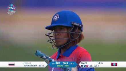 WT20WC: WI v Tha - Stafanie Taylor takes two wickets in an over